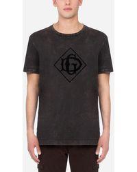 Dolce & Gabbana Cotton T-Shirt With Flocked Dg Logo - Negro