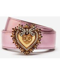 Dolce & Gabbana Devotion Belt In Laminated Leather - Pink