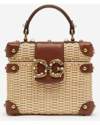 Dolce & Gabbana Dg Amore Box Bag In Wicker And Cowhide - Multicolore