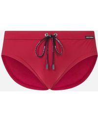 Dolce & Gabbana Swim Briefs With High-Cut Leg - Rot