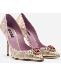 Dolce & Gabbana Floral Brocade Pumps With Bejeweled Embellishment - Multicolore