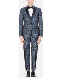 Dolce & Gabbana Martini-fit Tuxedo Suit In Star-design Jacquard - Blue