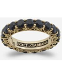 Dolce & Gabbana Sicily Ring In Yellow Gold And Black Sapphires - Metallizzato