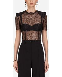 Dolce & Gabbana Short-sleeved Lamé Lace Top - Black