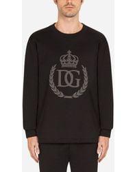 Dolce & Gabbana Jersey Sweatshirt With 3D Dg Logo - Negro