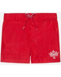 Dolce & Gabbana Nylon Swimming Trunks With Logo Print - Red