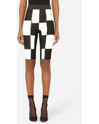 Dolce & Gabbana Damier Patchwork Jacquard Cycling Shorts - Black