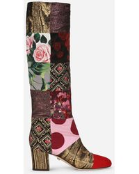 Dolce & Gabbana Patchwork Fabric Boots - Red