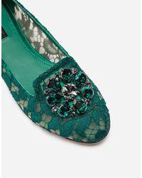 Dolce & Gabbana Verzierte Spitzenballerinas - Grün
