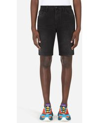 Dolce & Gabbana Washed Black Stretch Denim Shorts