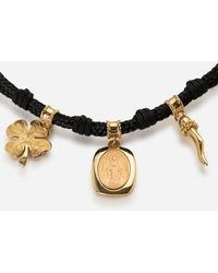 Dolce & Gabbana Fabric Devotion Bracelet With Yellow And Red Gold Pendant Charm - Rot