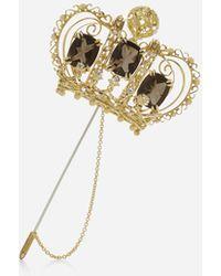 Dolce & Gabbana - Alfiler De Corona Con Cuarzos Y Diamantes - Lyst