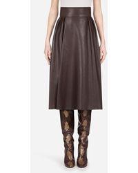 Dolce & Gabbana - Longuette Skirt In Plonge Lambskin - Lyst