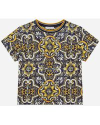 Dolce & Gabbana Jersey T-Shirt With Maiolica Print - Multicolor