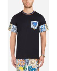 Dolce & Gabbana - Cotton T-shirt With Contrasting Prints - Lyst