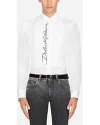 Dolce & Gabbana - Cotton Tuxedo Shirt With Embroidery - Lyst