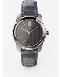 Dolce & Gabbana Dg7 Watch In Steel With Engraved Side Decoration In Gold - Grau