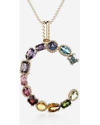 Dolce & Gabbana Rainbow Alphabet C Pendant In Yellow Gold With Multicolor Fine Gems - Mettallic