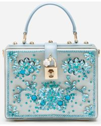 Dolce & Gabbana Satin Dolce Box Bag With Bejeweled Embroidery - Blue