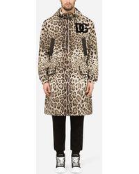 Dolce & Gabbana Hooded Nylon Parka With Leopard Print - Multicolour