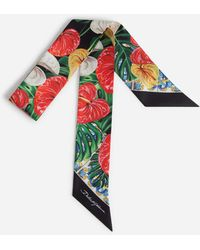 Dolce & Gabbana Bandeau In Twill With Laceleaf Print - Multicolour