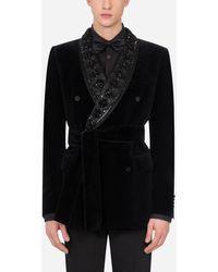 Dolce & Gabbana Velvet Martini-fit Tuxedo Jacket - Black