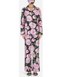 Dolce & Gabbana Peony-print Pajama Set With Matching Face Mask - Multicolor