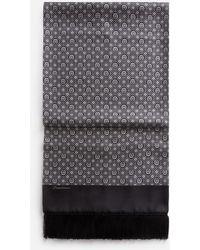 Dolce & Gabbana Silk Jacquard Scarf With Fringing - Schwarz