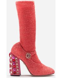 Dolce & Gabbana - Ankle Boots In Stretch Lycra With Jewel Applications - Lyst