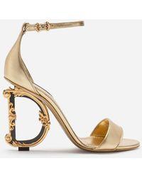 Dolce & Gabbana Nappa Mordore Sandals With Baroque Dg Heel - Multicolor