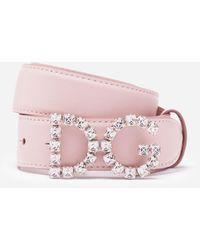 Dolce & Gabbana Calfskin Belt With Dg Crystal Logo - Pink