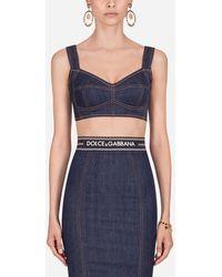 Dolce & Gabbana Cropped Denim Corset - Blue