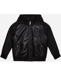Dolce & Gabbana Bomber Con Cappuccio In Pelle E Nylon Con Patch Logo - Nero
