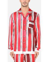 Dolce & Gabbana Silk Brushstroke-print Pyjama Shirt - Red