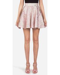 Dolce & Gabbana Gonna Corta A Ruota In Jacquard - Rosa