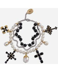 Dolce & Gabbana Yellow And White Gold Family Bracelet With Black Sapphire, Pearl And Black Jade Beads - Metallic