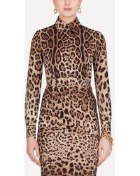Dolce & Gabbana Slim Printed Silk Charmeuse Shirt - Brown