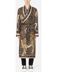 Dolce & Gabbana Leopard-print Silk Robe - Multicolor