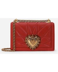 Dolce & Gabbana Medium Devotion Bag In Quilted Nappa Leather - Rot