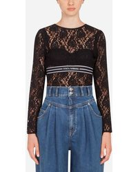 Dolce & Gabbana Long-Sleeved Lace Top With Branded Elastic - Nero