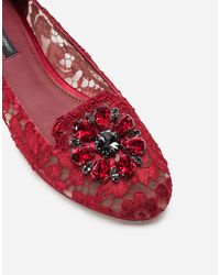 Dolce & Gabbana Slipper In Taormina Lace With Crystals - Rosso