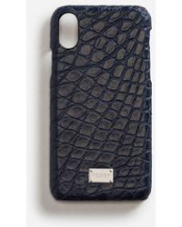 Dolce & Gabbana Iphone X Cover With Details In Crocodile - Bleu
