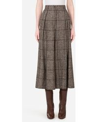 Dolce & Gabbana Wide-leg Trousers In Checked Tartan - Multicolour