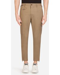Dolce & Gabbana Cargo Trousers In Stretch Cotton - Brown