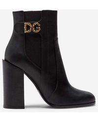 Dolce & Gabbana Calfskin Nappa Ankle Boots With Dg Logo - Schwarz