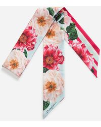 Dolce & Gabbana Twill Headband With Polka Dot And Camellia Print - Red