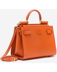 Dolce & Gabbana Small Calfskin Sicily 62 Bag - Orange