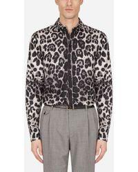 Dolce & Gabbana Silk Martini-Fit Shirt With Leopard Print - Multicolore