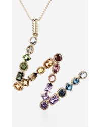 Dolce & Gabbana Rainbow Alphabet W Pendant In Yellow Gold With Multicolor Fine Gems - Metálico