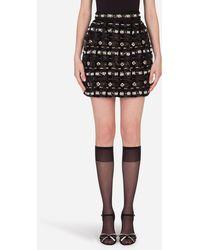 Dolce & Gabbana Bestickter Minirock - Schwarz